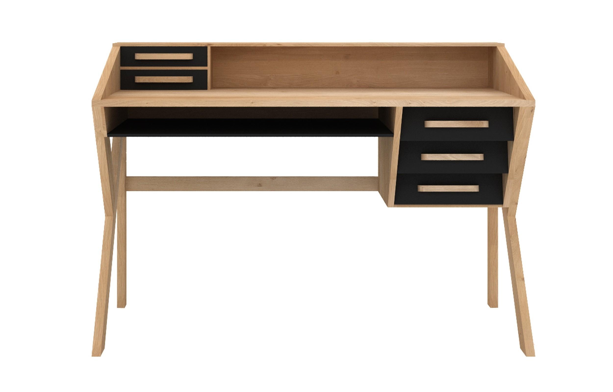 Marius Oak Origami Desk - Black | Viesso with Marius Dark Grey 3 Piece Sectionals (Image 18 of 30)
