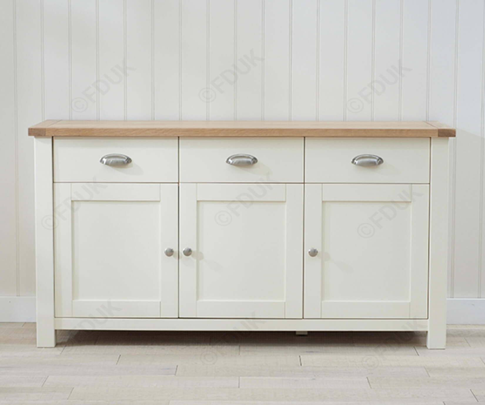 Mark Harris Sandringham | Sandringham Oak And Cream 3 Door 3 Drawer throughout 3-Door 3-Drawer Metal Inserts Sideboards (Image 17 of 30)
