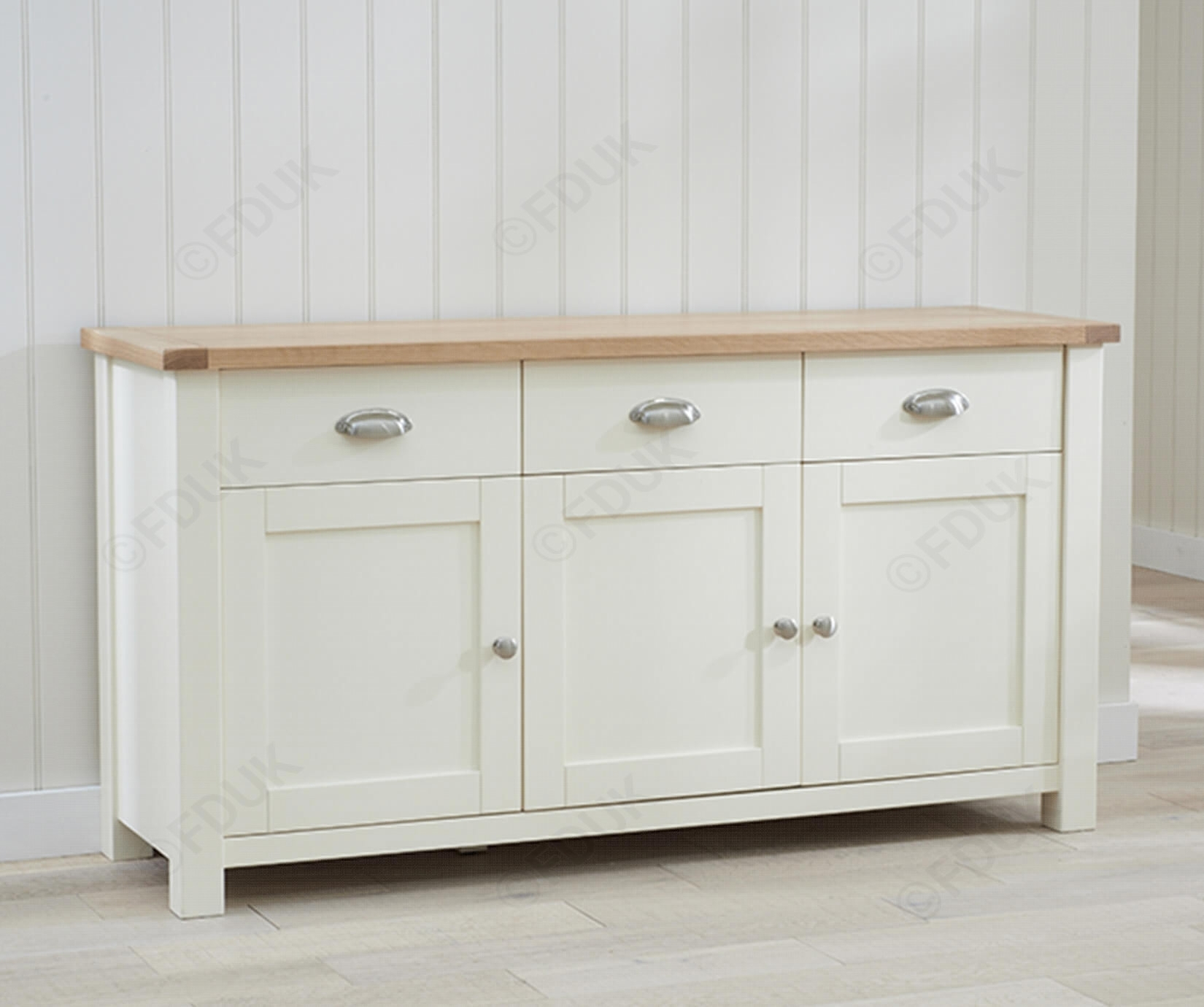 Mark Harris Sandringham | Sandringham Oak And Cream 3 Door 3 Drawer with 4-Door/4-Drawer Metal Inserts Sideboards (Image 18 of 30)
