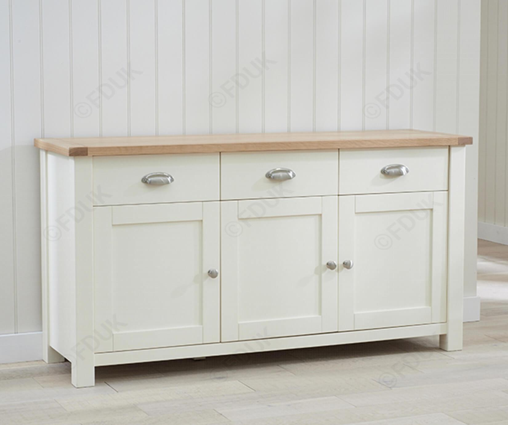 Mark Harris Sandringham | Sandringham Oak And Cream 3 Door 3 Drawer with 4-Door 4-Drawer Metal Inserts Sideboards (Image 19 of 30)