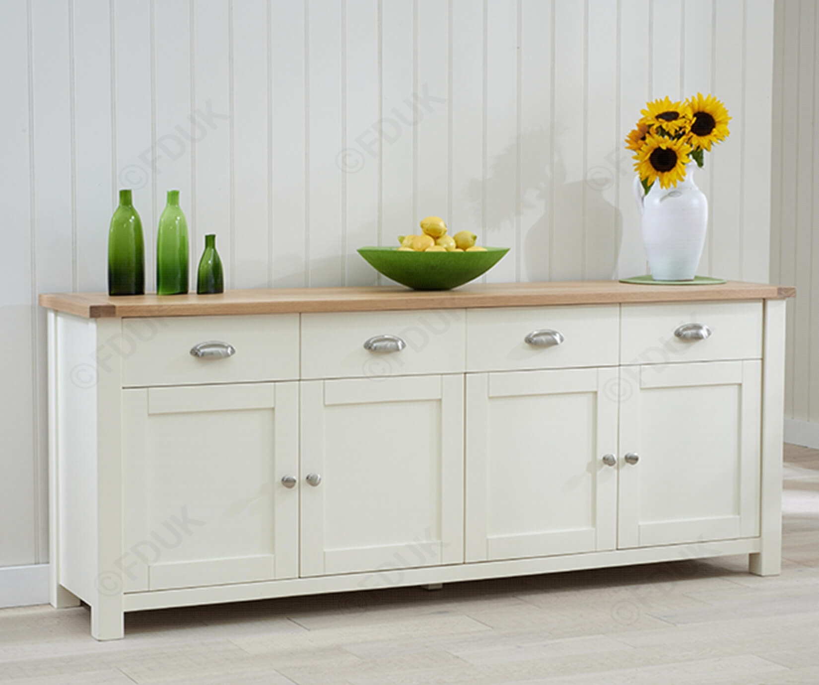 Mark Harris Sandringham | Sandringham Oak And Cream 4 Door 4 Drawer in 3-Door 3-Drawer Metal Inserts Sideboards (Image 18 of 30)