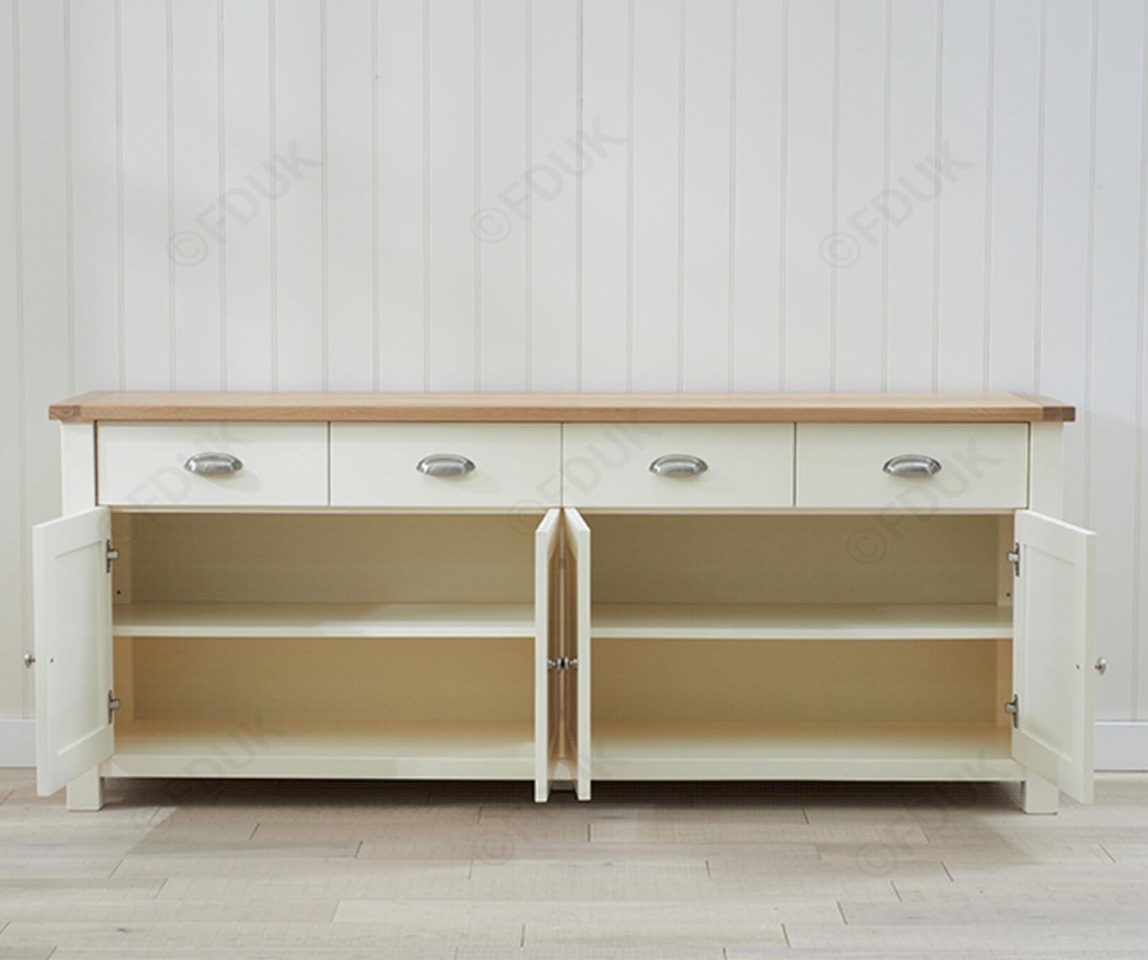 Mark Harris Sandringham | Sandringham Oak And Cream 4 Door 4 Drawer with 4-Door 4-Drawer Metal Inserts Sideboards (Image 21 of 30)