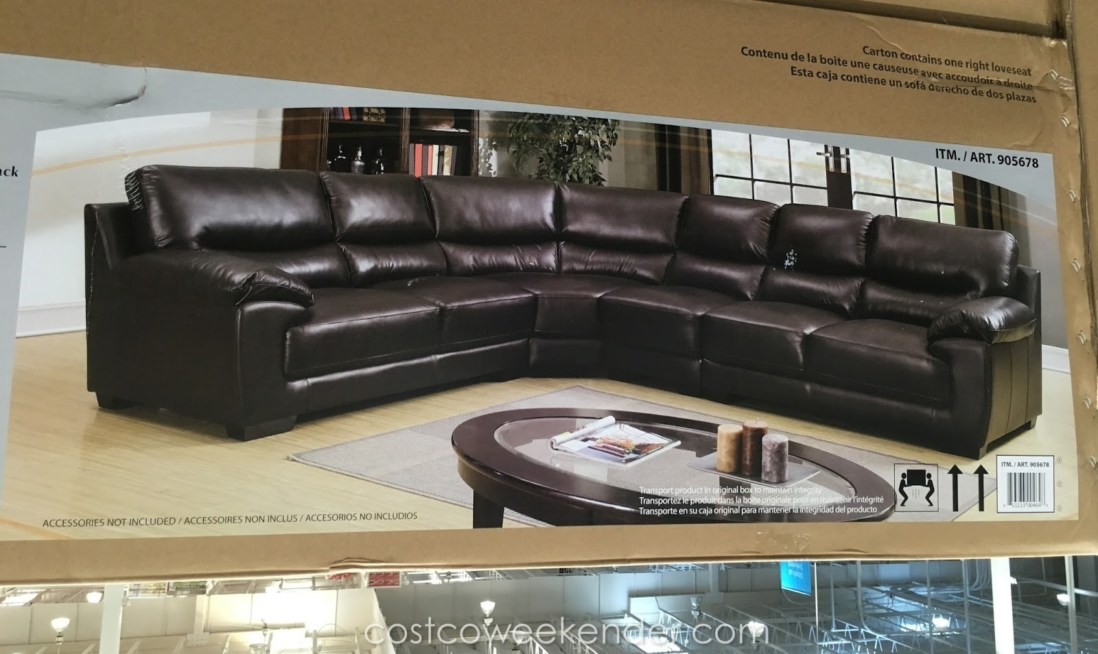 Marks & Cohen Colton Leather Sectional | Costco Weekender pertaining to Cohen Down 2 Piece Sectionals (Image 18 of 30)