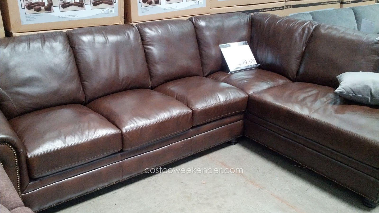Marks & Cohen Savoy 2 Piece Leather Sectional Couch | Costco Weekender inside Cohen Down 2 Piece Sectionals (Image 20 of 30)