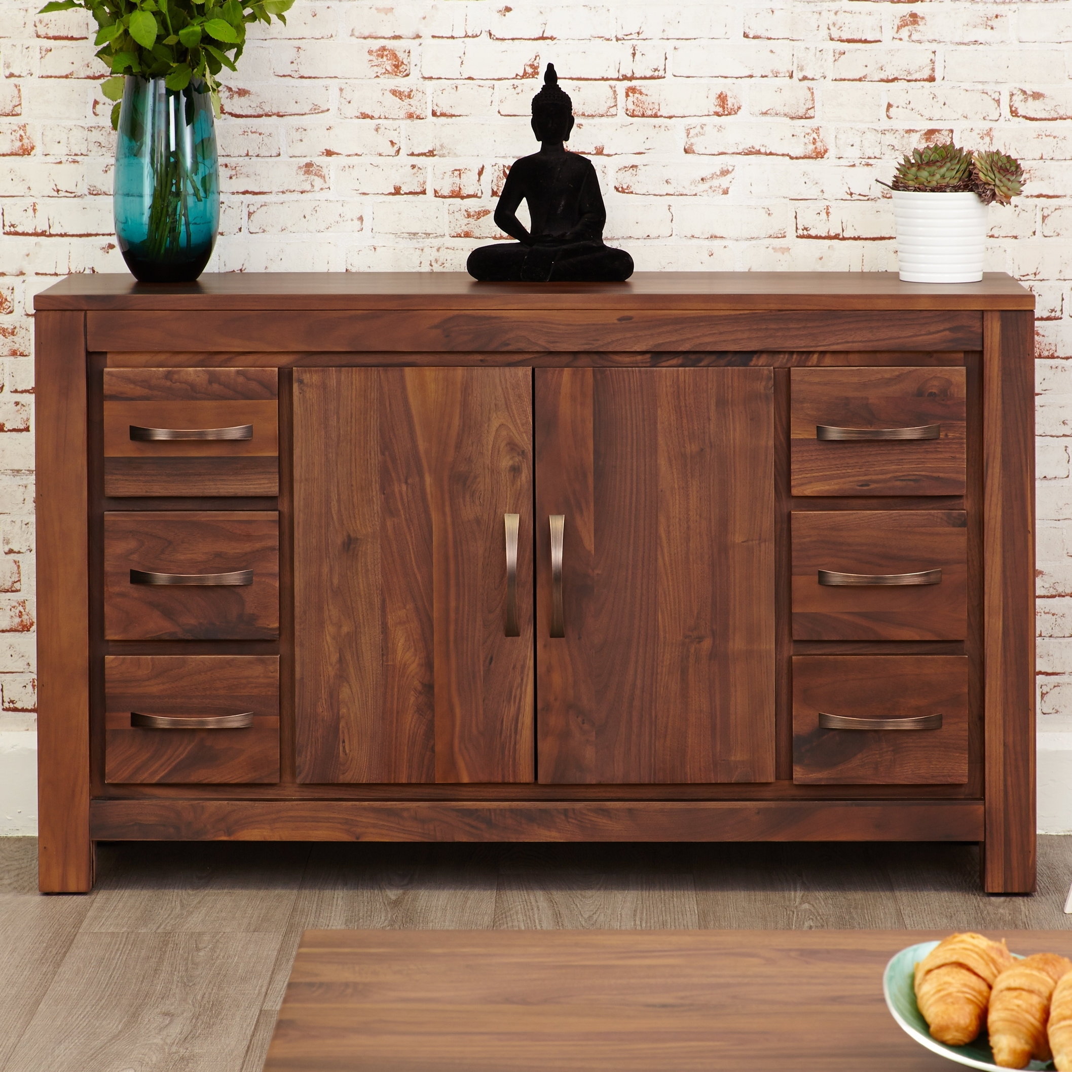 Featured Photo of Antique Walnut Finish 2 Door/4 Drawer Sideboards