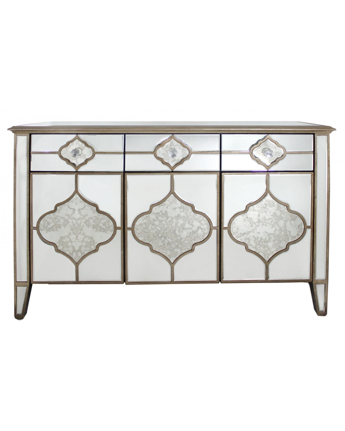 Marrakech Mirror 3 Drawer 3 Mirror Sideboard | Cimc Home regarding 3-Door 3-Drawer Metal Inserts Sideboards (Image 19 of 30)