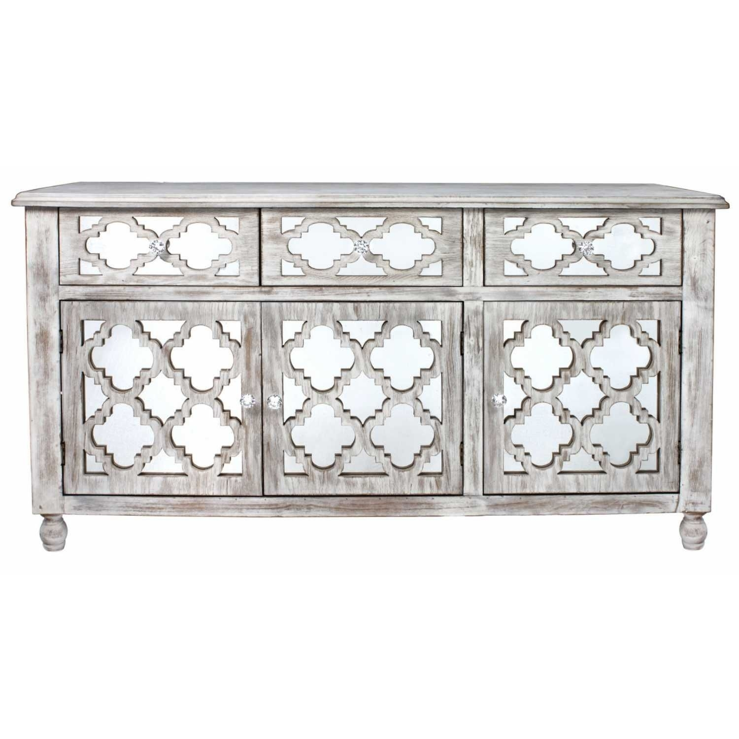 Marrakech Washed Ash Modern Mirrored Glass 3 Door 3 Drawer Cabinet within White Wash 3-Door 3-Drawer Sideboards (Image 18 of 30)