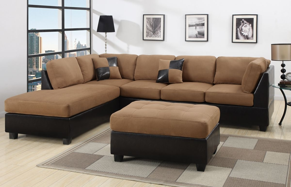 Marvellous Black And Brown Sectional L Shaped Sofa Design Ideas For inside Turdur 3 Piece Sectionals With Raf Loveseat (Image 15 of 30)
