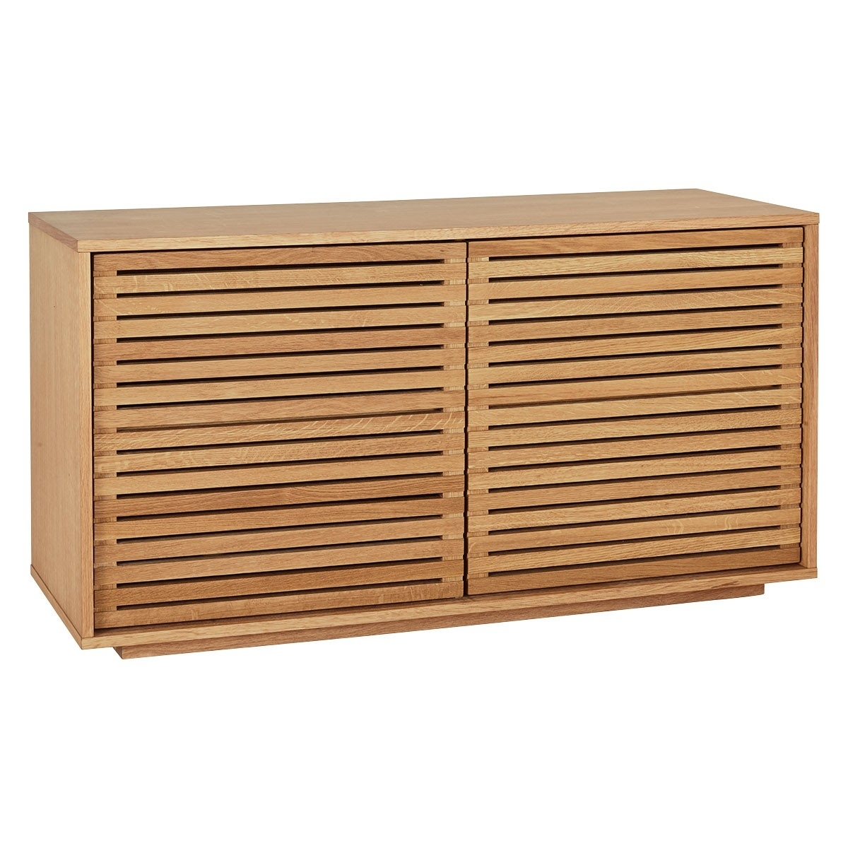 Max Oiled Oak 2 Door Sideboard With Slatted Doors | Buy Now At throughout 2-Door Mirror Front Sideboards (Image 19 of 30)