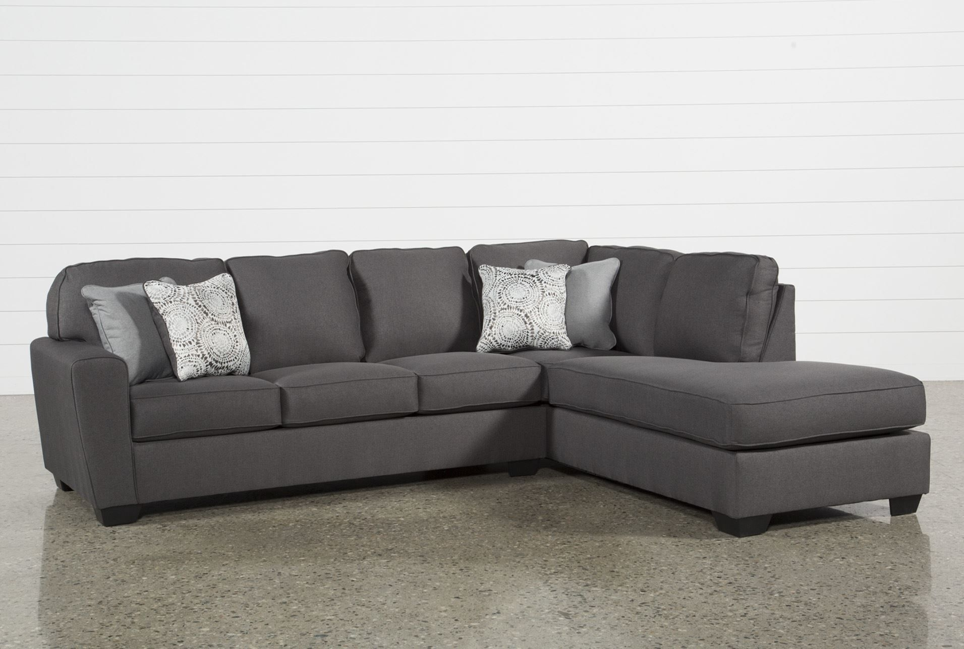 Mcdade Graphite 2 Piece Sectional W/raf Chaise | Products For Mcculla Sofa Sectionals With Reversible Chaise (View 8 of 30)