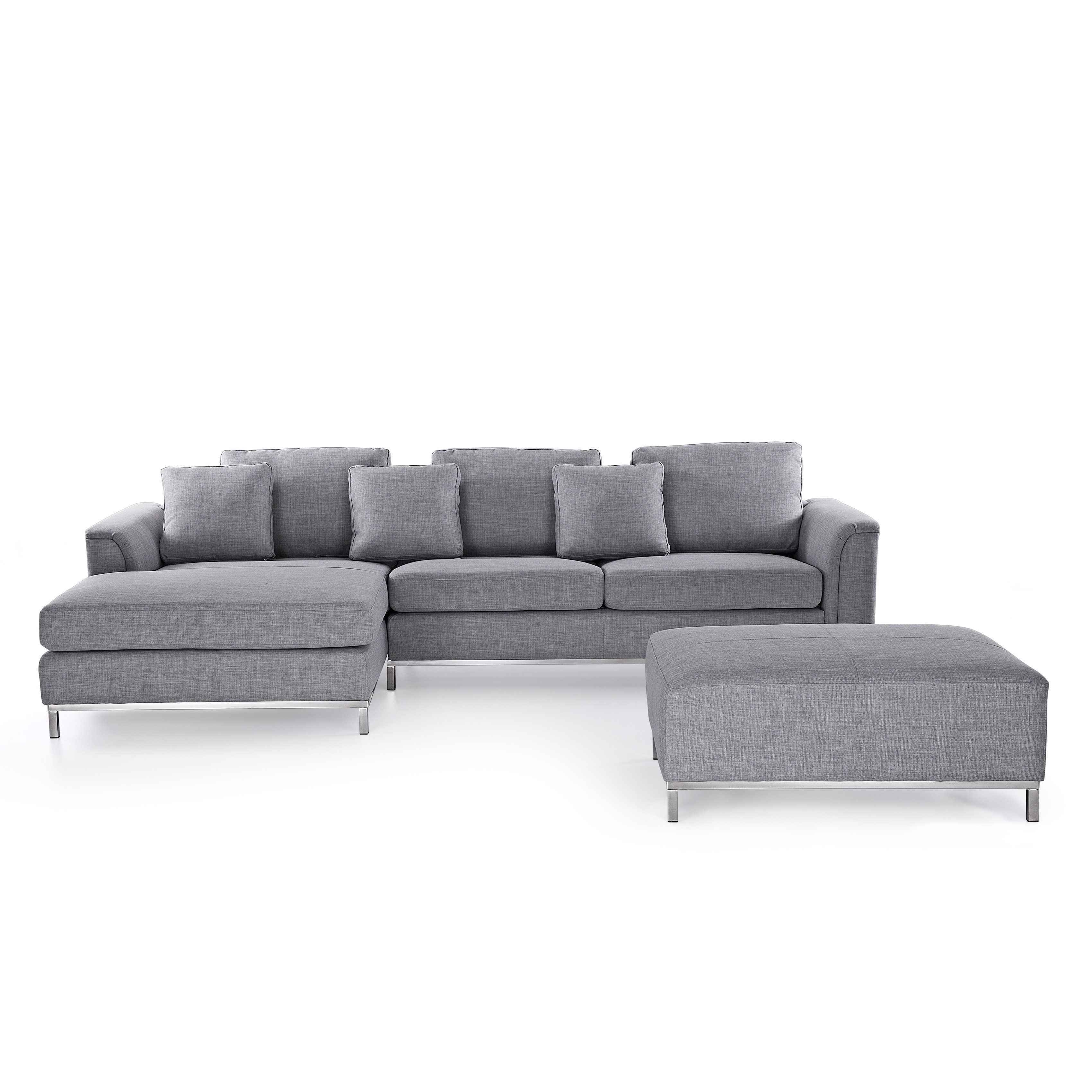 Merax 3 Piece Reversible Sectional Sofa With Chaise And Ottoman From intended for Tatum Dark Grey 2 Piece Sectionals With Laf Chaise (Image 18 of 30)