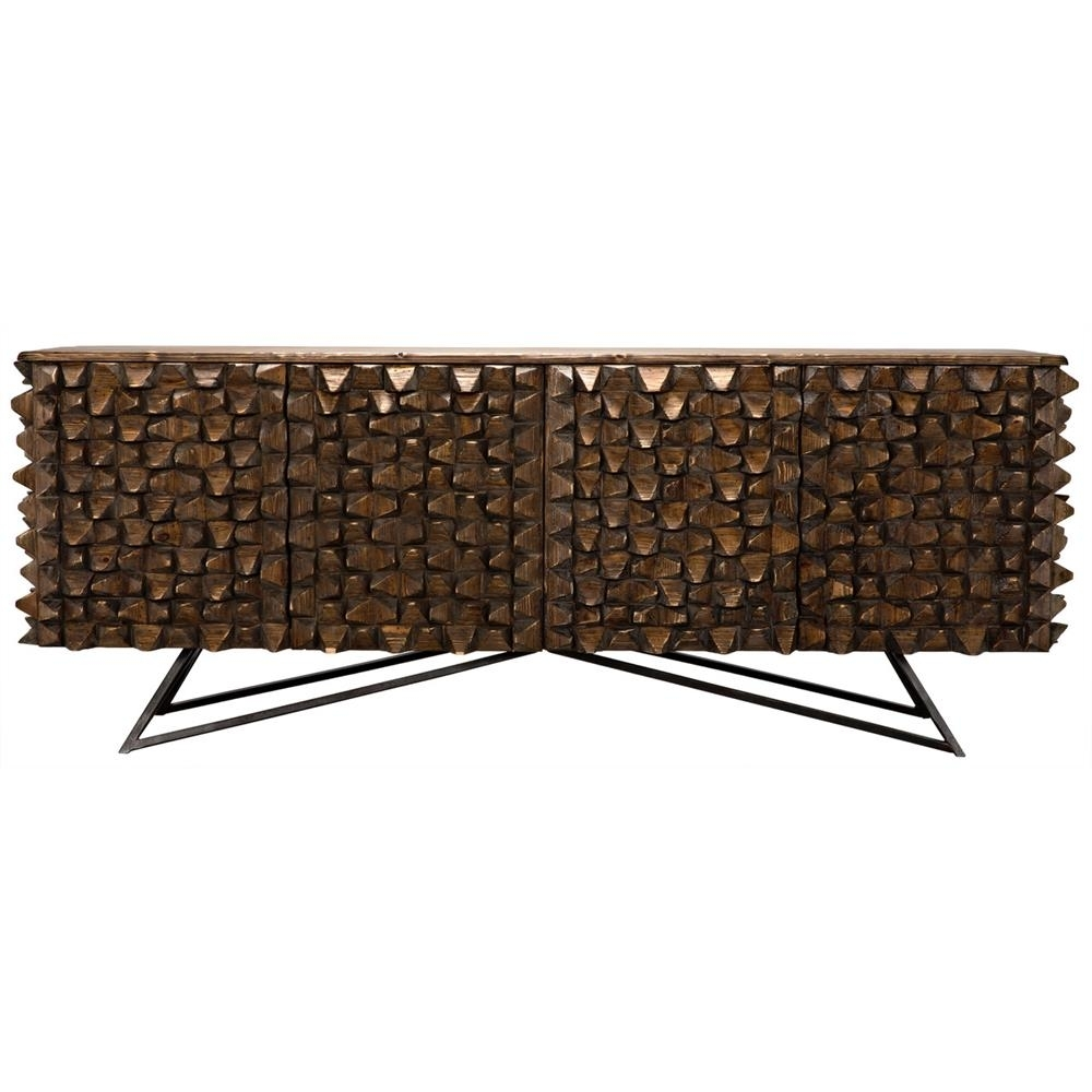 Mersin Modern Rustic Reclaimed Chunky Wood Metal Sideboard Buffet for Blue Stone Light Rustic Black Sideboards (Image 17 of 30)