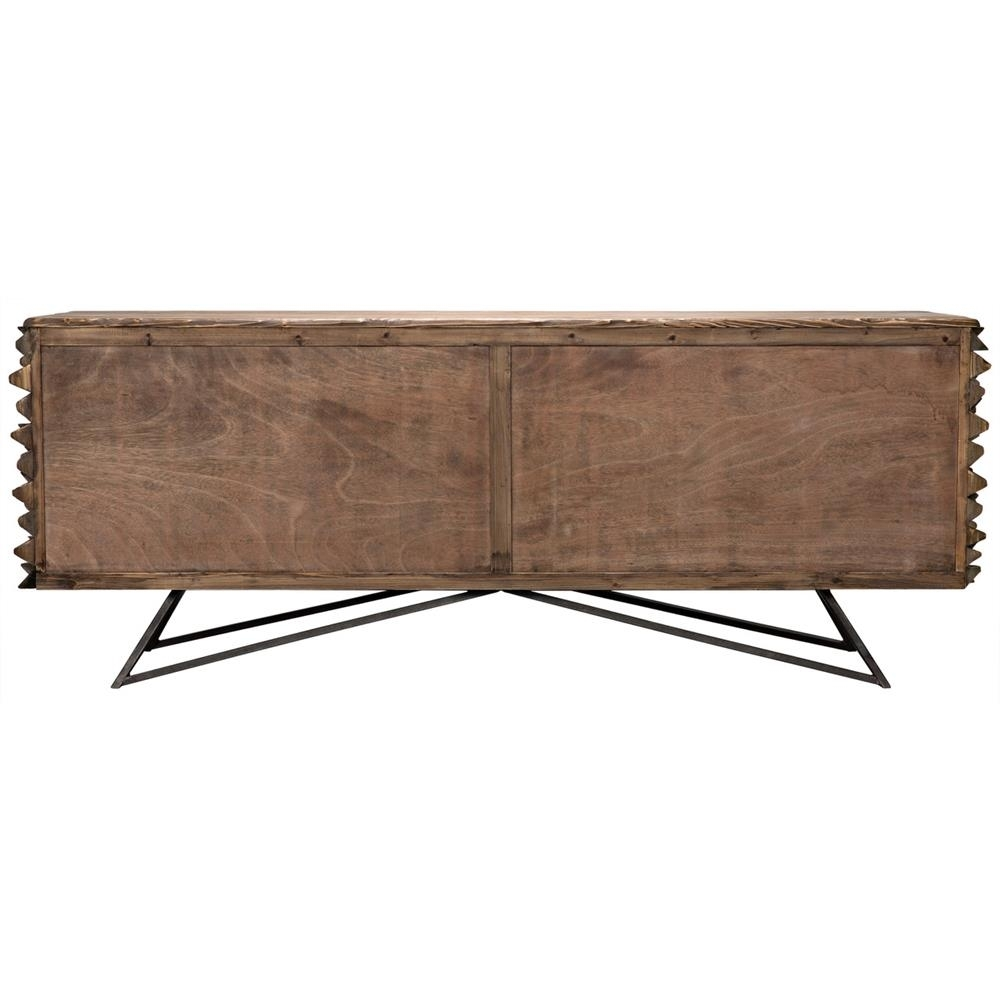 Mersin Modern Rustic Reclaimed Chunky Wood Metal Sideboard Buffet in Black Oak Wood And Wrought Iron Sideboards (Image 15 of 30)