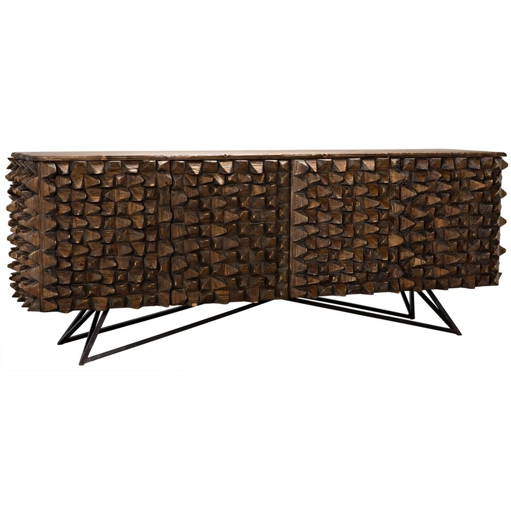 Mersin Modern Rustic Reclaimed Chunky Wood Metal Sideboard Buffet pertaining to Blue Stone Light Rustic Black Sideboards (Image 18 of 30)