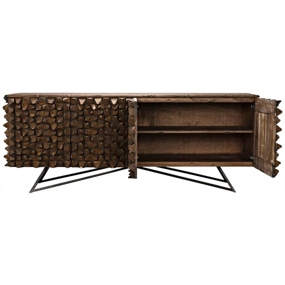 Mersin Modern Rustic Reclaimed Chunky Wood Metal Sideboard Buffet with regard to Reclaimed Sideboards With Metal Panel (Image 11 of 30)
