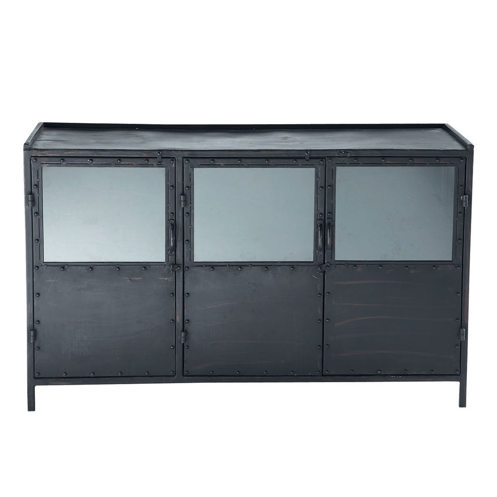Metal Industrial Glazed Sideboard In Black W 130Cm | Maisons Du Monde regarding Rani 4 Door Sideboards (Image 14 of 30)
