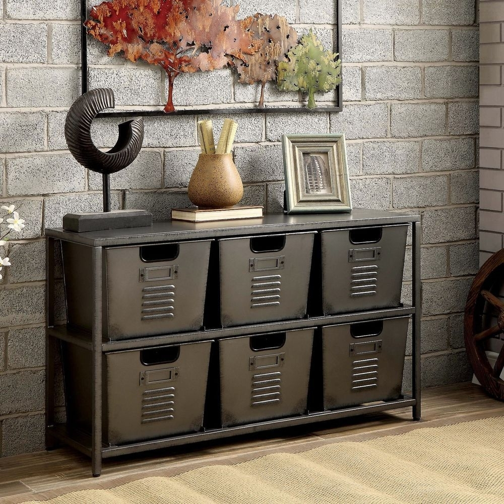 Metal Industrial Rustic Modern Storage Console Table With Bins New inside Magnolia Home Dylan Sideboards By Joanna Gaines (Image 26 of 30)