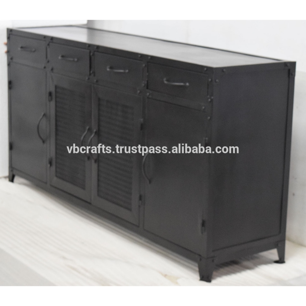 Metal Industrial Sideboard Cabinet Retro Vintage Design - Buy inside Corrugated Metal Sideboards (Image 15 of 30)