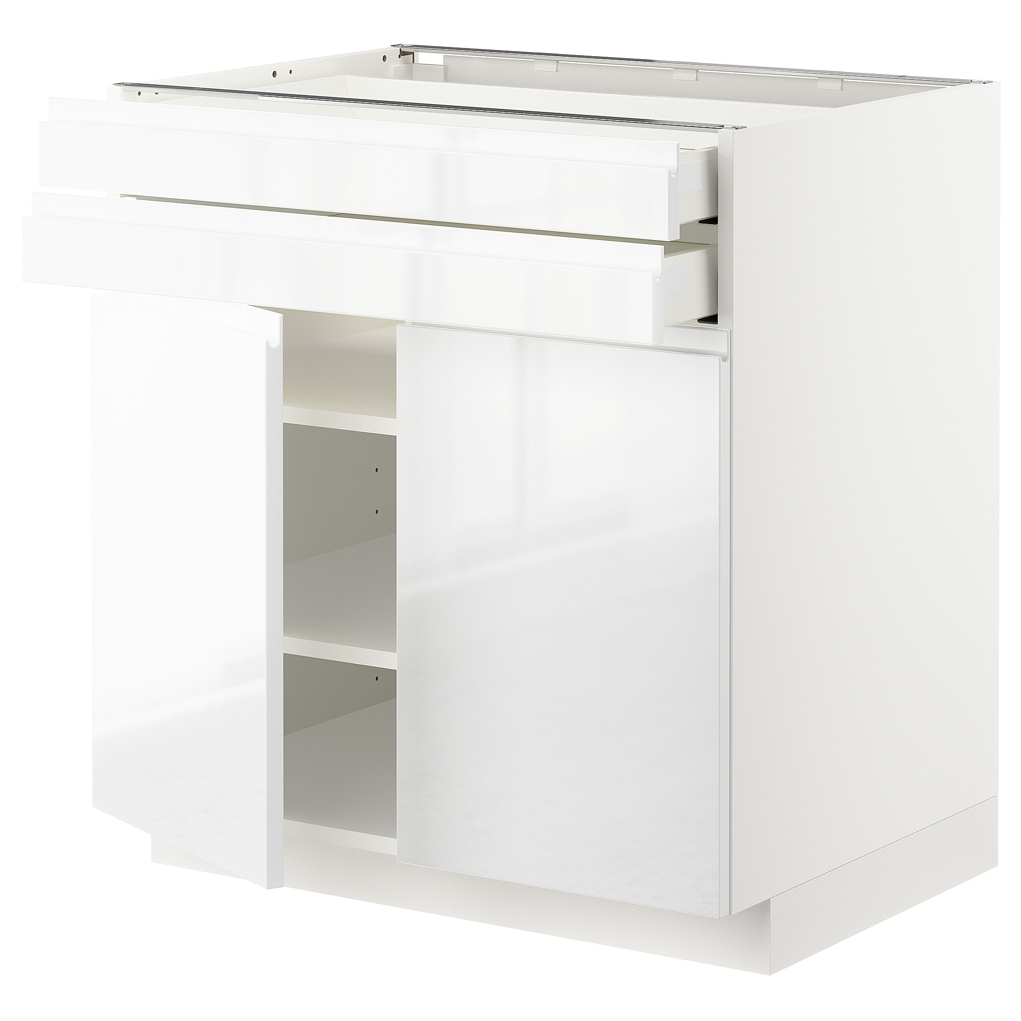 Metod/maximera Base Cabinet W 2 Doors/2 Drawers White/voxtorp High regarding White Wash 4-Door Galvanized Sideboards (Image 19 of 30)