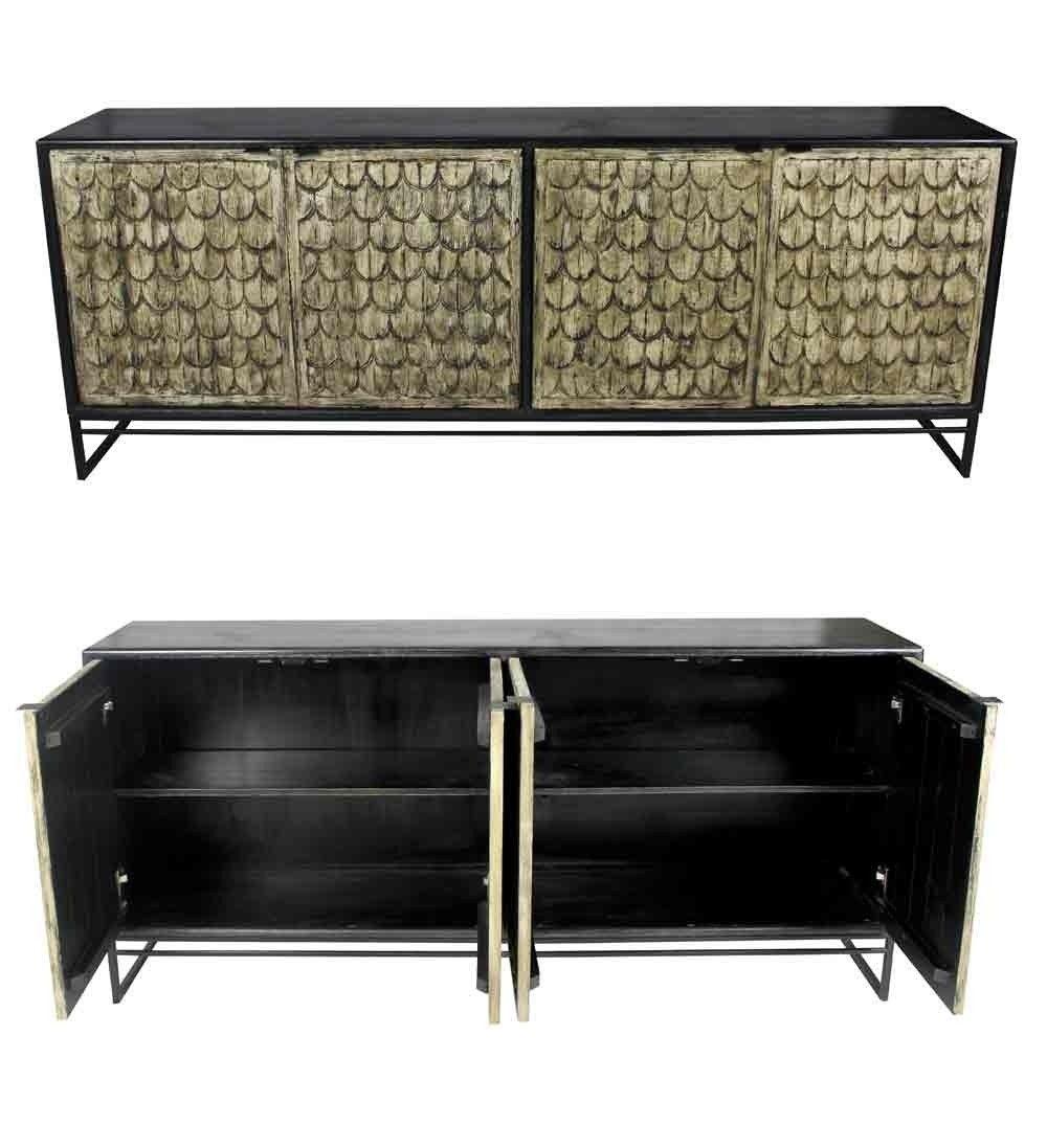 Meva Furniture - Spree Fenwick 4 Door Sideboard In Solid Wood W inside Reclaimed Pine & Iron 4-Door Sideboards (Image 16 of 30)