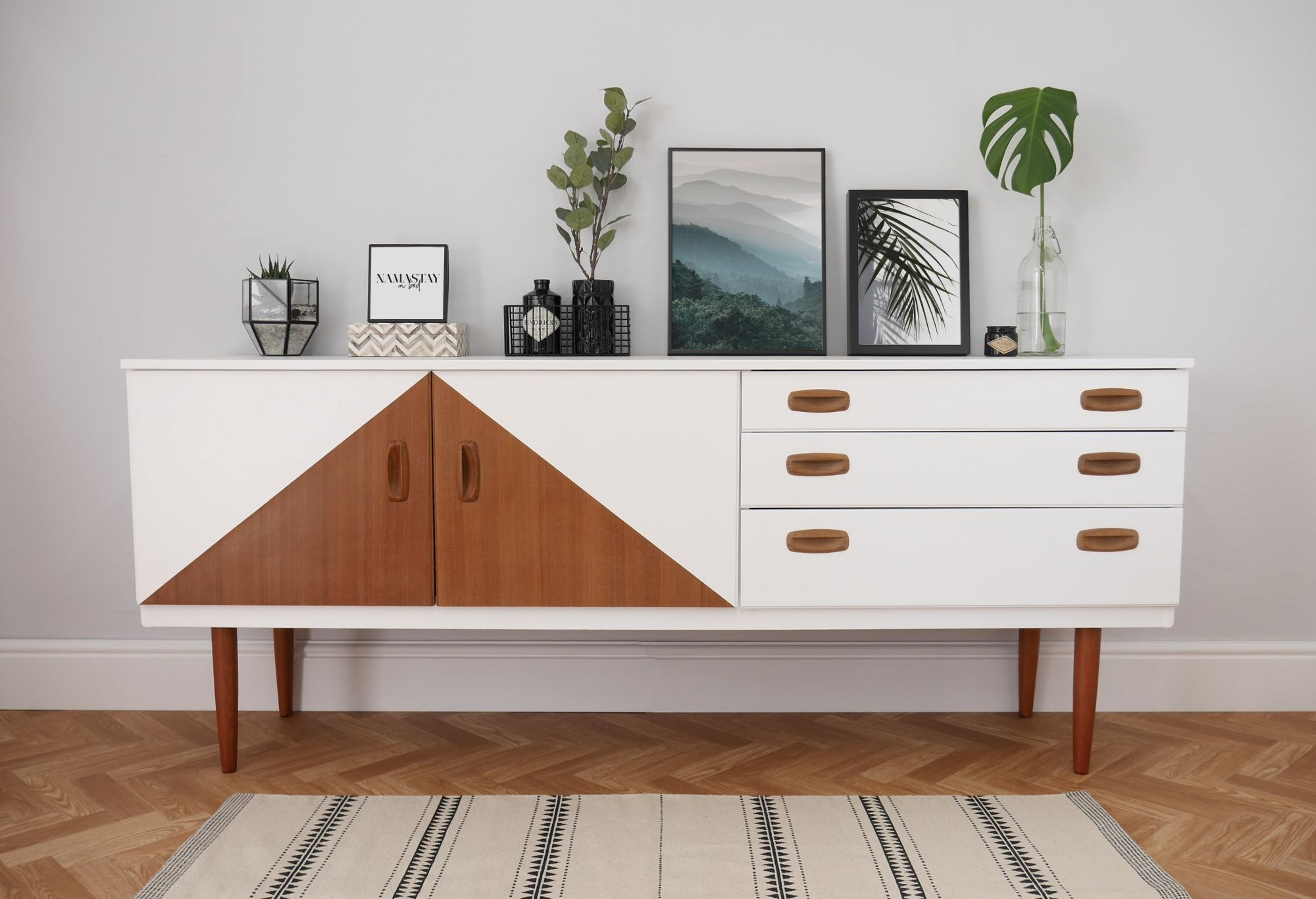 Mid Century Sideboard, Painted White With Teak Triangle Design With Cass 2 Door Sideboards (View 9 of 30)