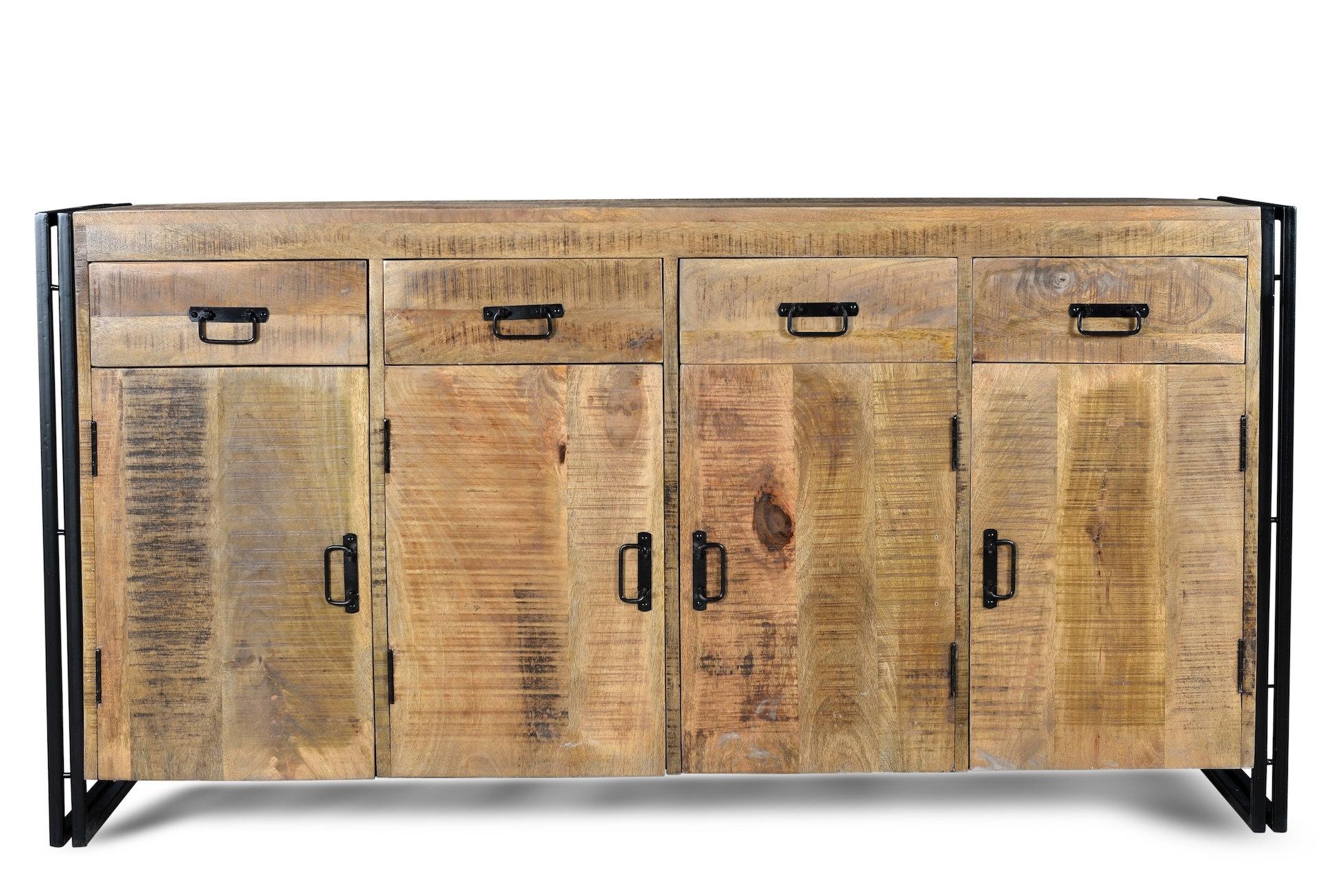 Millwood Pines Anais 4 Door Sideboard & Reviews | Wayfair intended for Reclaimed Pine & Iron 4-Door Sideboards (Image 17 of 30)