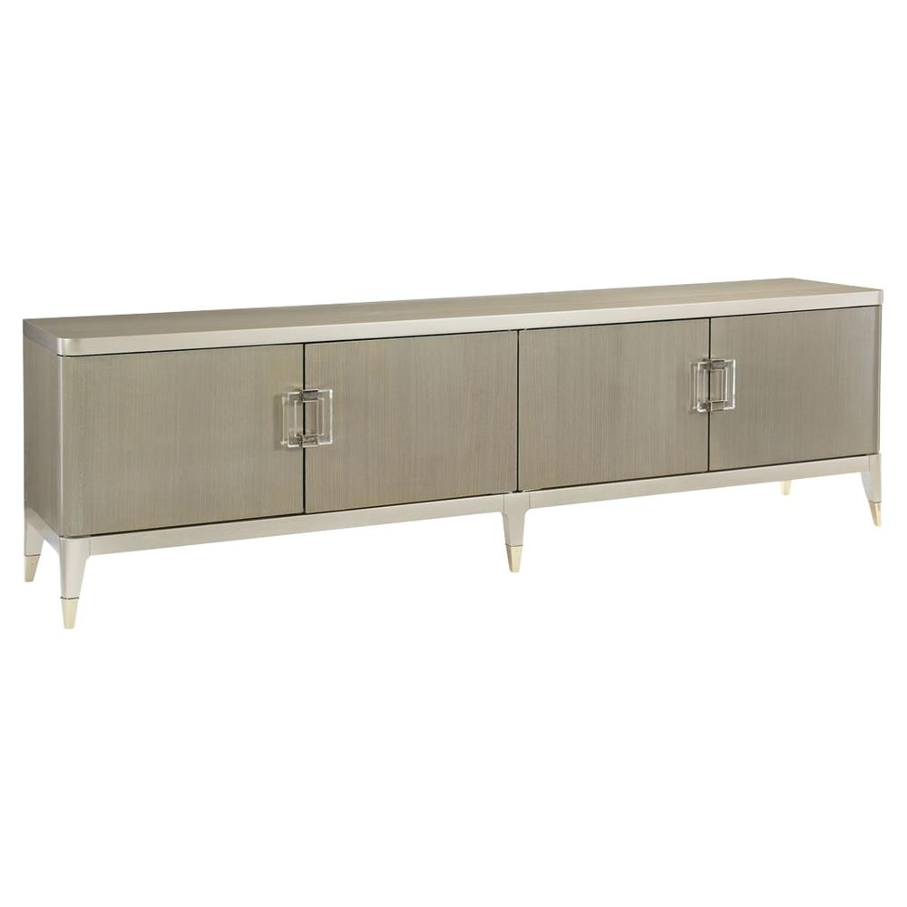 Miranda Modern Classic Champagne Taupe 4 Door Koto Panel Media Cabinet intended for 4-Door/4-Drawer Metal Inserts Sideboards (Image 21 of 30)