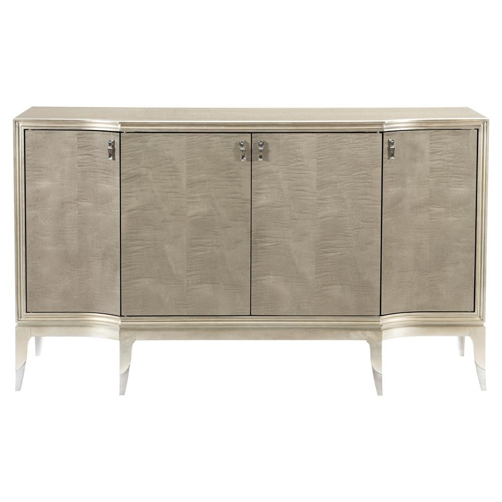 Miranda Modern Classic Silver Leaf 4 Door Sideboard | Kathy Kuo Home pertaining to 4-Door/4-Drawer Metal Inserts Sideboards (Image 22 of 30)