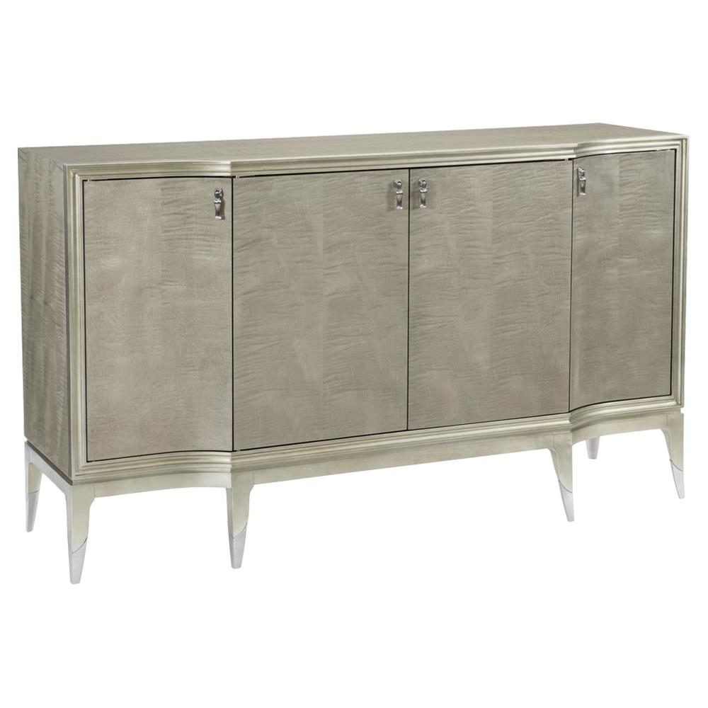 Miranda Modern Classic Silver Leaf 4 Door Sideboard | Kathy Kuo Home within 3-Door 3-Drawer Metal Inserts Sideboards (Image 20 of 30)