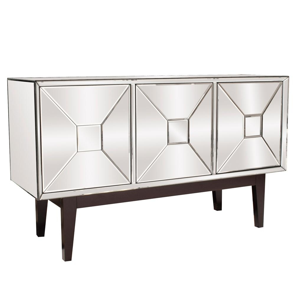 Mirrored Buffet Cabinet With Three Doors-68086 - The Home Depot throughout 2-Door Mirror Front Sideboards (Image 20 of 30)
