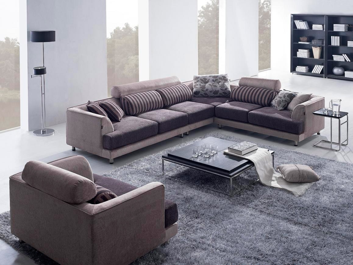 Modern Beige Brown Fabric Sectional Sofa And Chair With Pillows with Arrowmask 2 Piece Sectionals With Laf Chaise (Image 24 of 30)