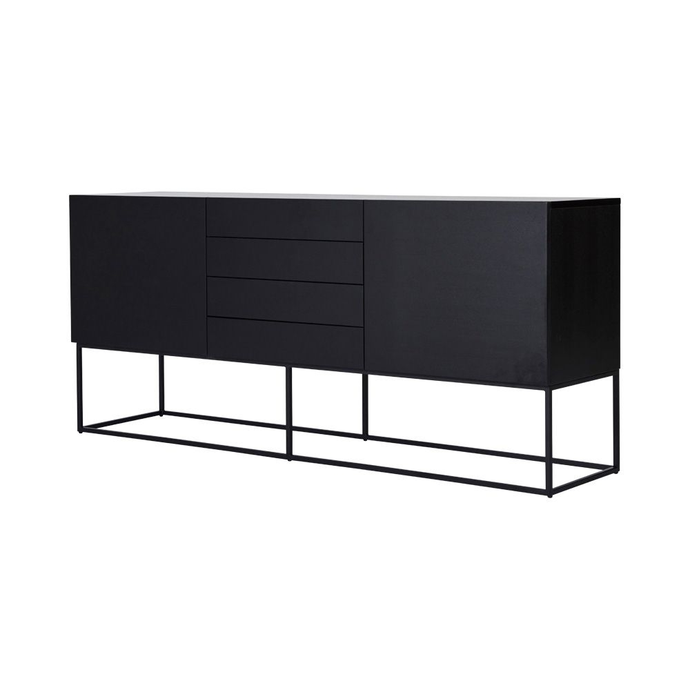 Modern Designer Black Ash Balmain Buffet/sideboard - Black Steel in Metal Refinement 4 Door Sideboards (Image 25 of 30)