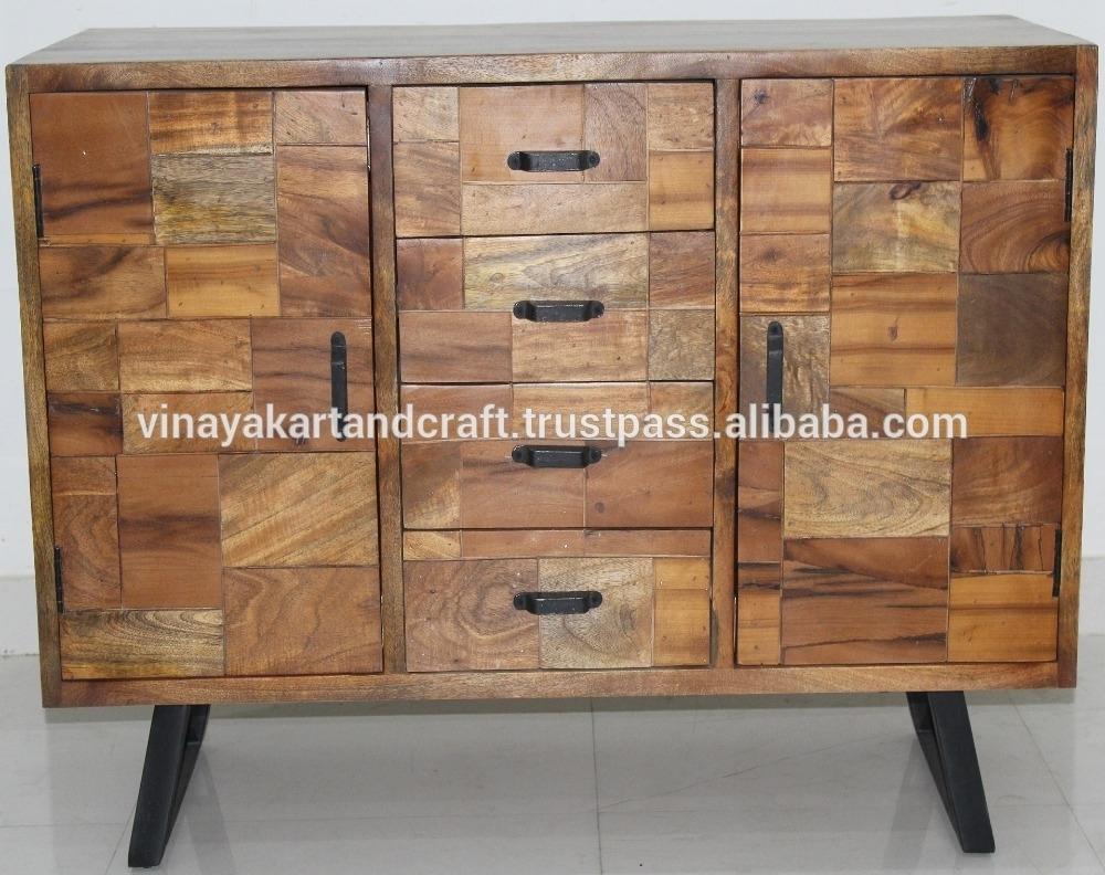 Modern Furniture Sideboard Design With Matt Black Metal Base with regard to Corrugated Natural 4-Drawer Sideboards (Image 18 of 30)