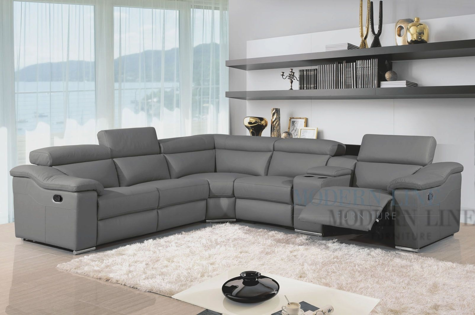 Modern Leather Reclining Sectional Grey Leather Modern Sectional intended for Marcus Grey 6 Piece Sectionals With  Power Headrest & Usb (Image 19 of 30)