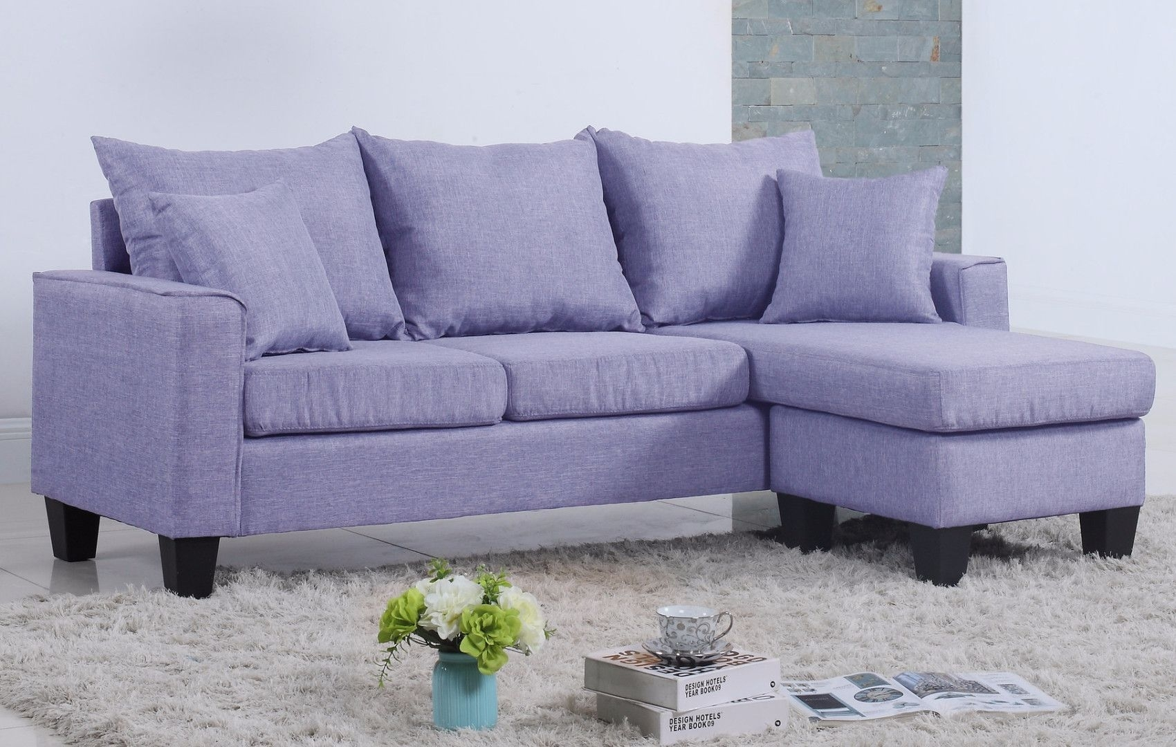 Modern Linen Fabric Small Space Sectional Sofa With Reversible With Regard To Collins Sofa Sectionals With Reversible Chaise (View 18 of 30)