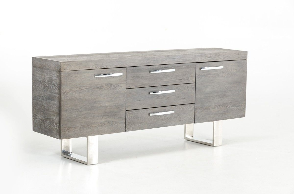 Modrest Lola Modern Grey Brush Buffet | Furniture/decor For for Amos Buffet Sideboards (Image 18 of 30)