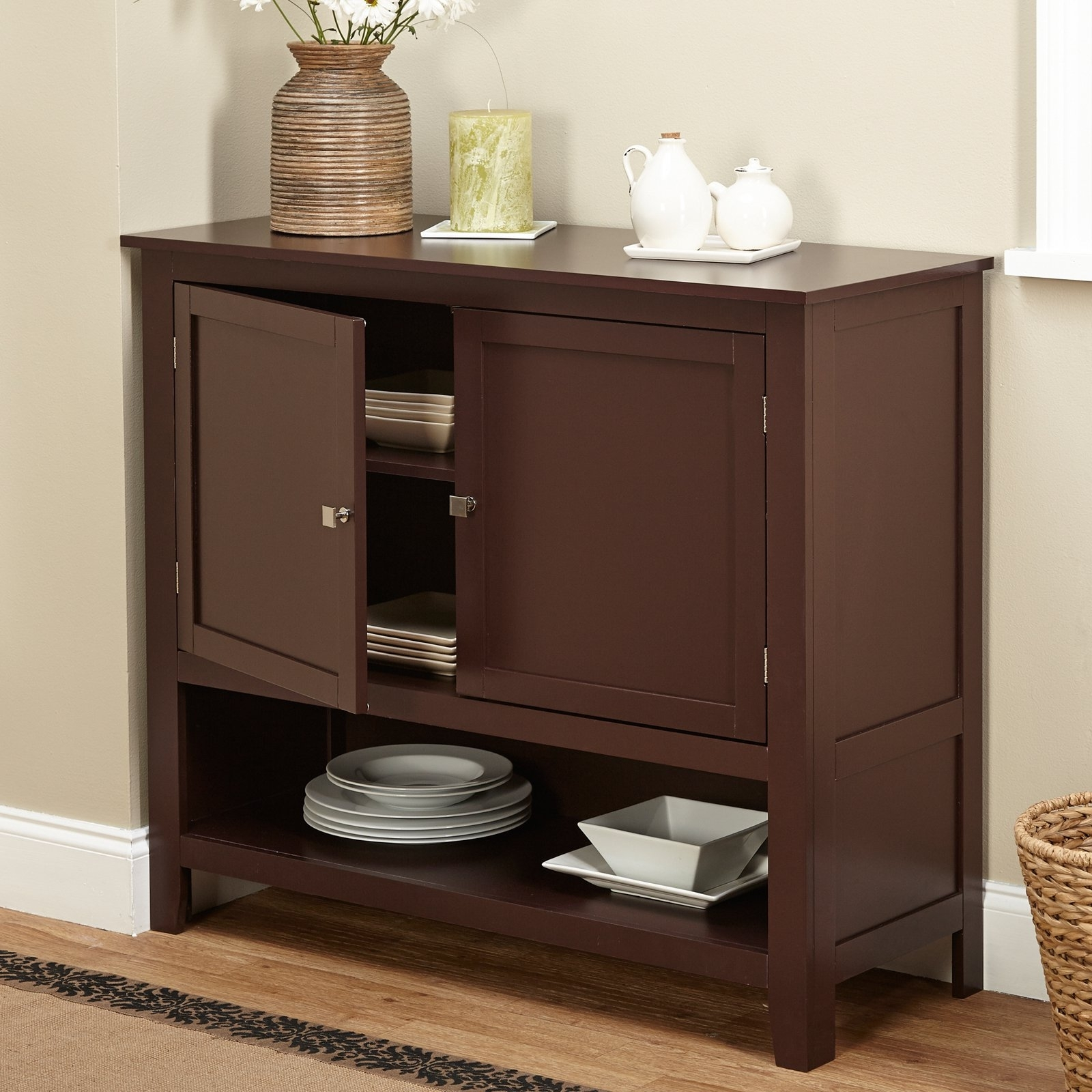 Montego Espresso Wooden Buffet - Walmart intended for Palazzo 87 Inch Sideboards (Image 15 of 30)