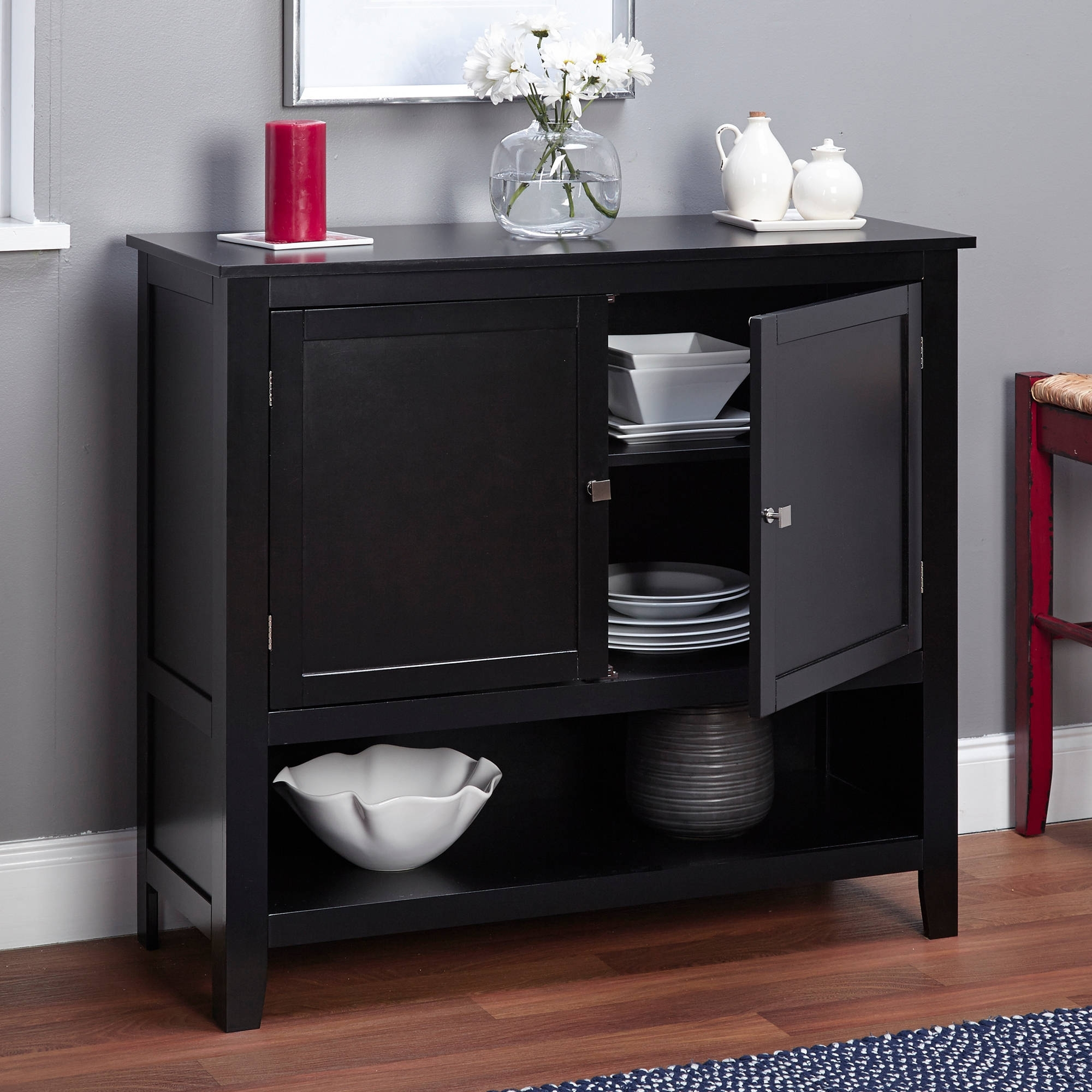 Montego Espresso Wooden Buffet - Walmart regarding Palazzo 87 Inch Sideboards (Image 16 of 30)