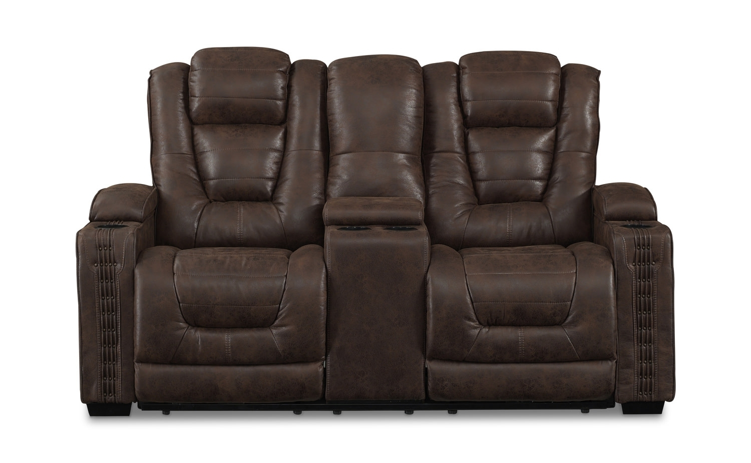 Morph Power Reclining Loveseat With Console | Hom Furniture for Denali Light Grey 6 Piece Reclining Sectionals With 2 Power Headrests (Image 23 of 30)