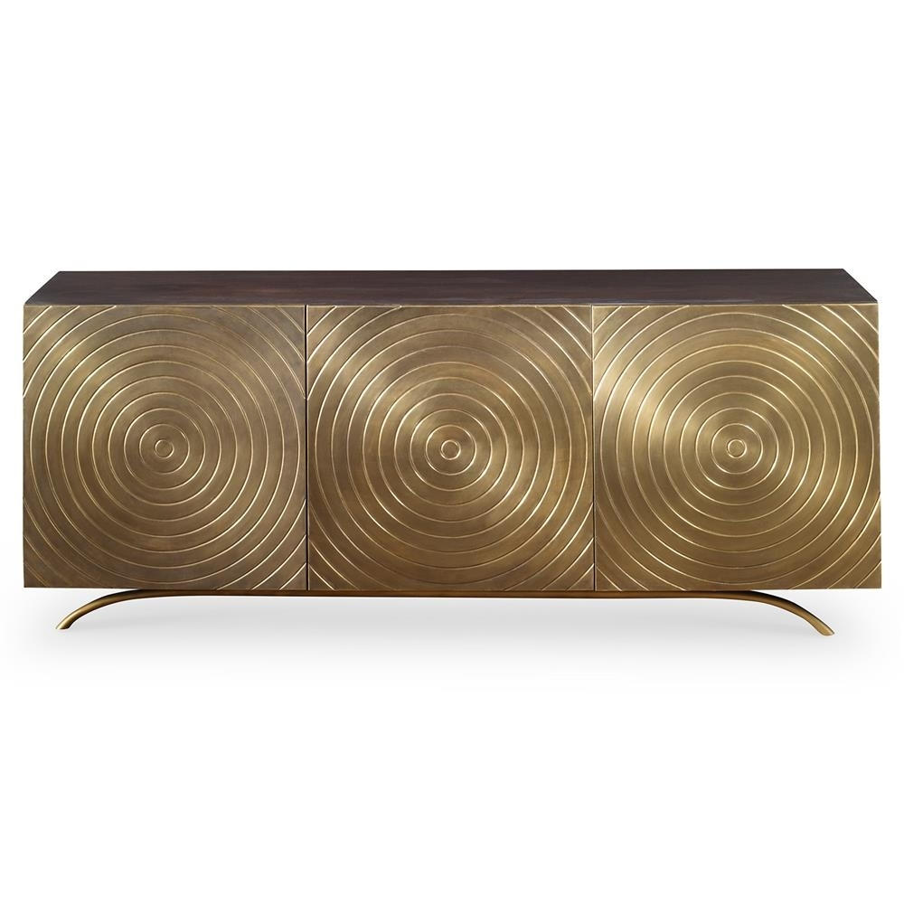 Mr. Brown Claudio Mid Century Regency Gold Vented Media Cabinet intended for Corrugated Metal Sideboards (Image 18 of 30)
