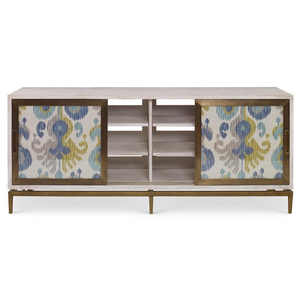 Mr. Brown Muse Global Modern Blue Ikat White Wash Cabinet | Kathy regarding Corrugated White Wash Sideboards (Image 15 of 30)