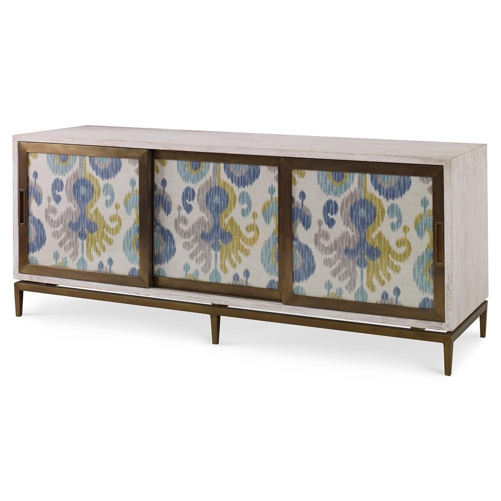 Mr. Brown Muse Global Modern Blue Ikat White Wash Cabinet | Kathy with regard to Corrugated White Wash Sideboards (Image 16 of 30)