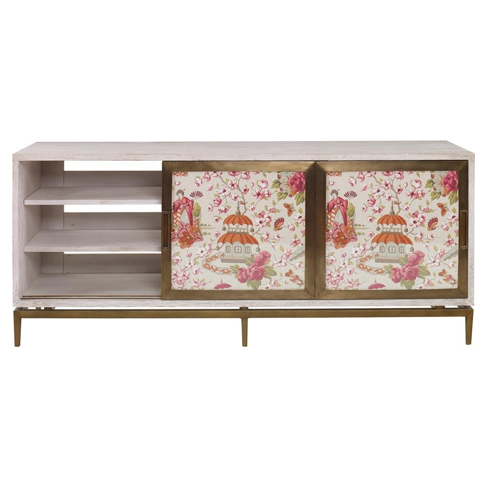 Mr. Brown Muse Modern Classic Rose Chinoiserie White Wash Cabinet with regard to Corrugated White Wash Sideboards (Image 18 of 30)