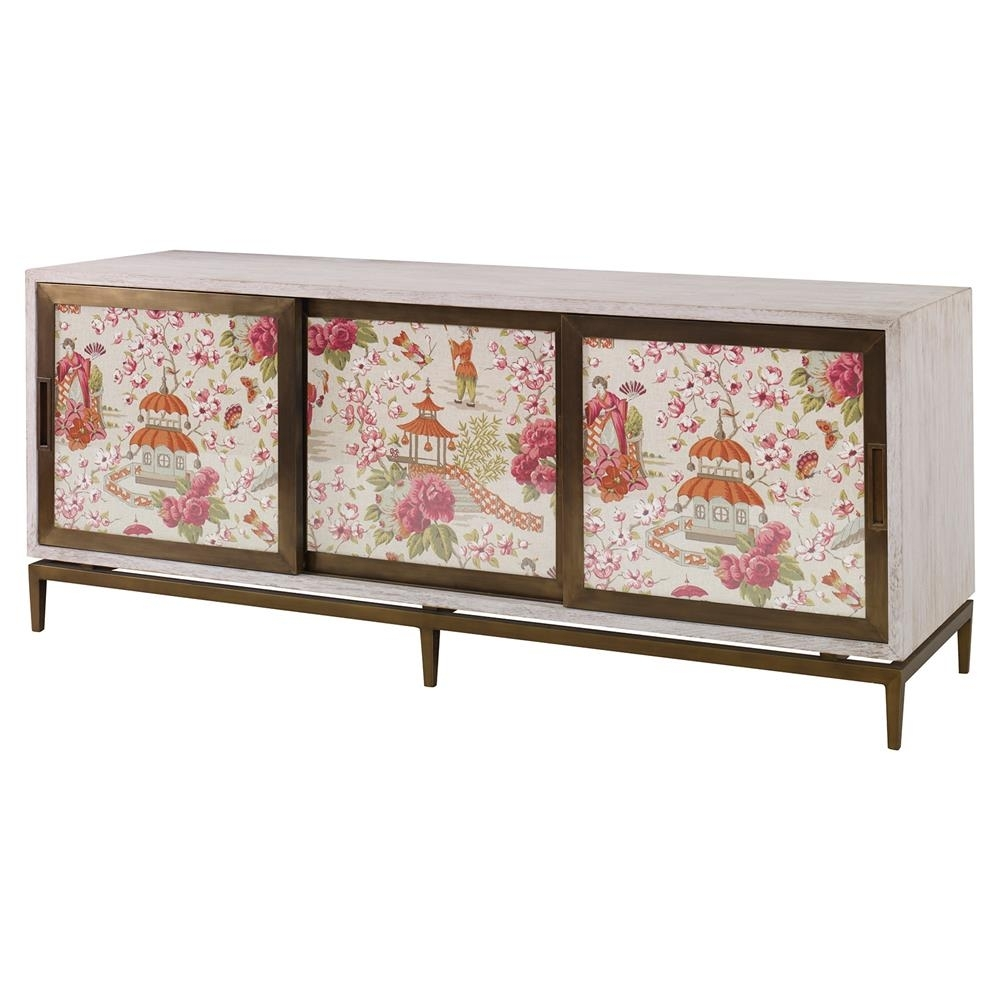 Mr. Brown Muse Modern Classic Rose Chinoiserie White Wash Cabinet with regard to Corrugated White Wash Sideboards (Image 17 of 30)