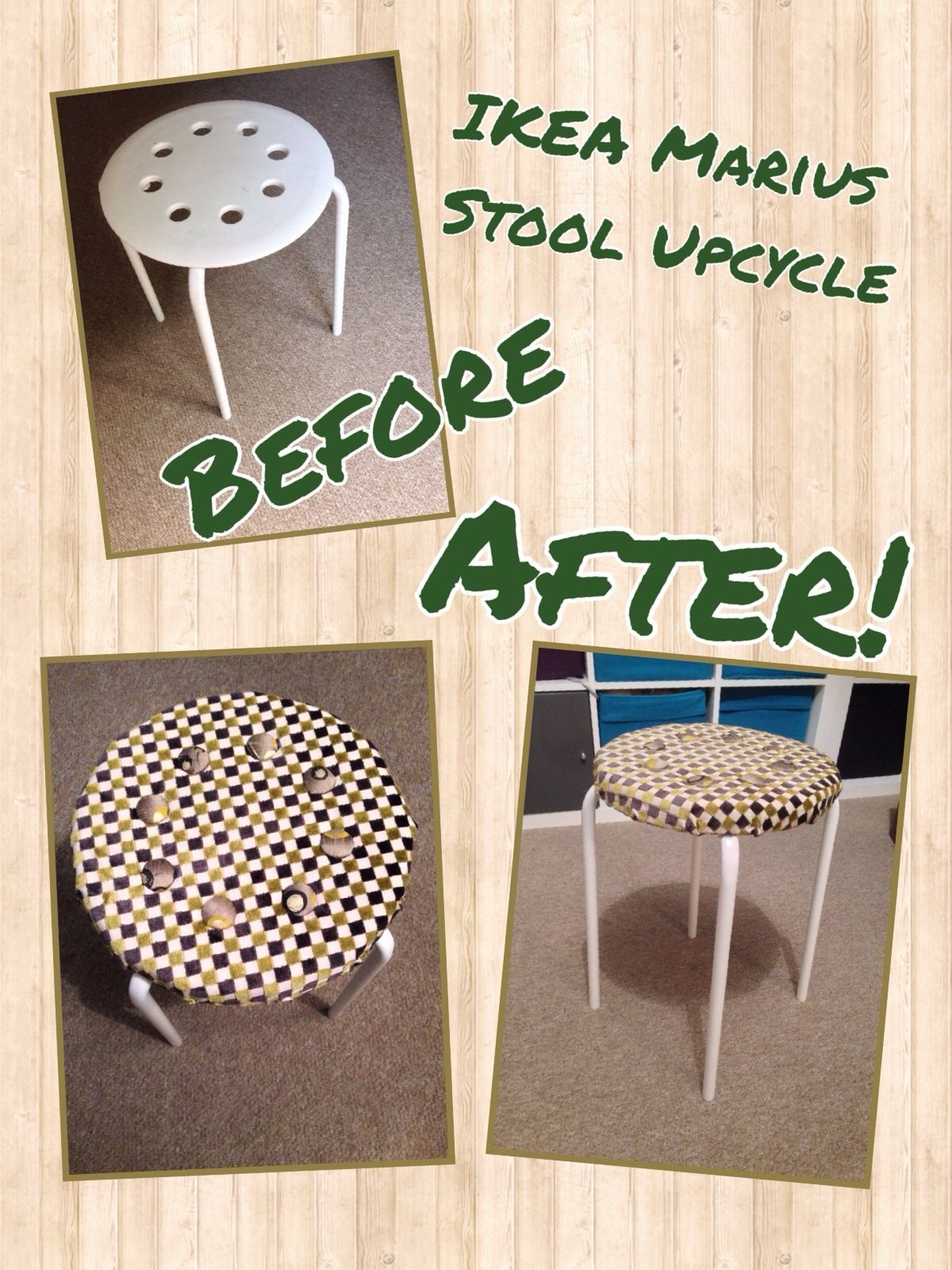 My Ikea Hack - Covered A Marius Stool (£3) With Foam (£3), Self for Marius Dark Grey 3 Piece Sectionals (Image 22 of 30)