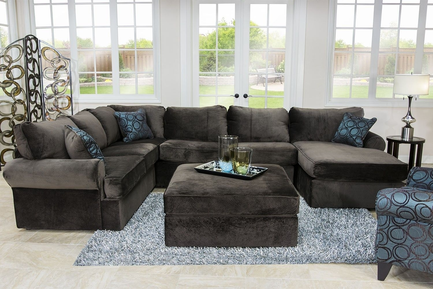 Napa Chocolate Right-Facing Sectional - Sectionals - Living Room inside Marcus Chocolate 6 Piece Sectionals With Power Headrest and Usb (Image 14 of 30)