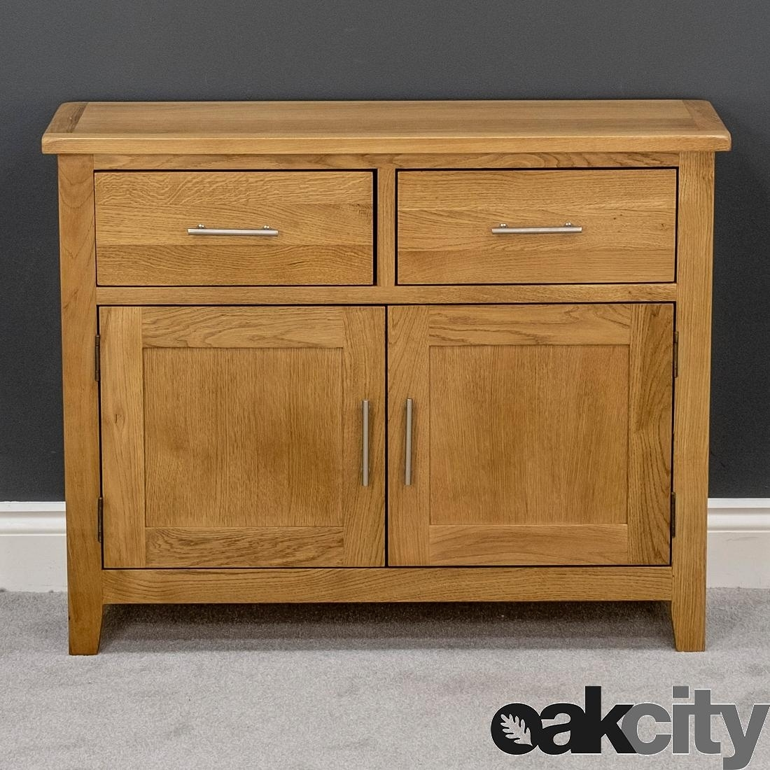 Nebraska Oak Sideboard / Small Solid Wood 2 Door Storage Cabinet In 3 Drawer/2 Door White Wash Sideboards (Photo 10 of 30)