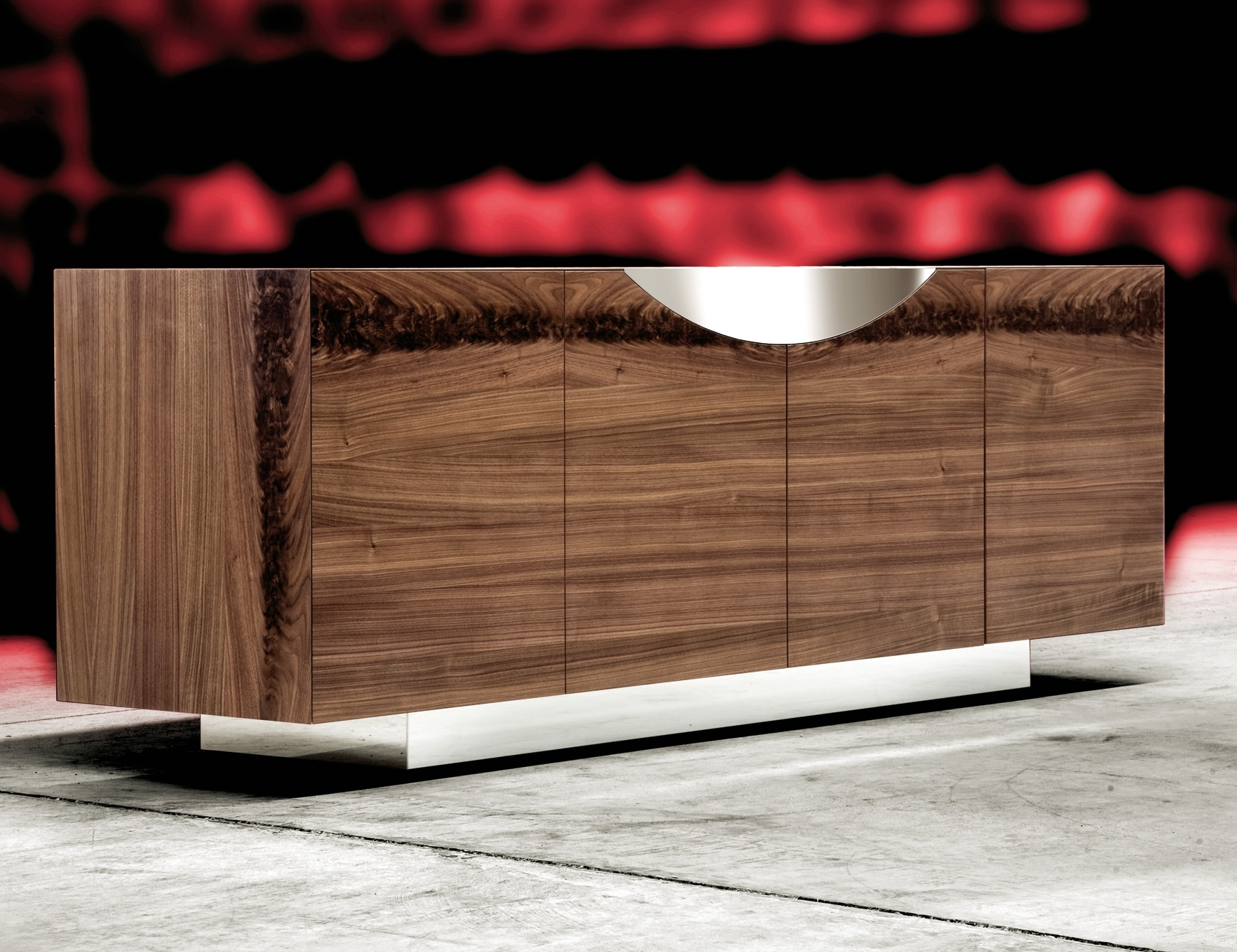 Nella Vetrina Costantini Pietro Edge 9232 Modern Walnut Sideboard with regard to Walnut Finish Contempo Sideboards (Image 25 of 30)