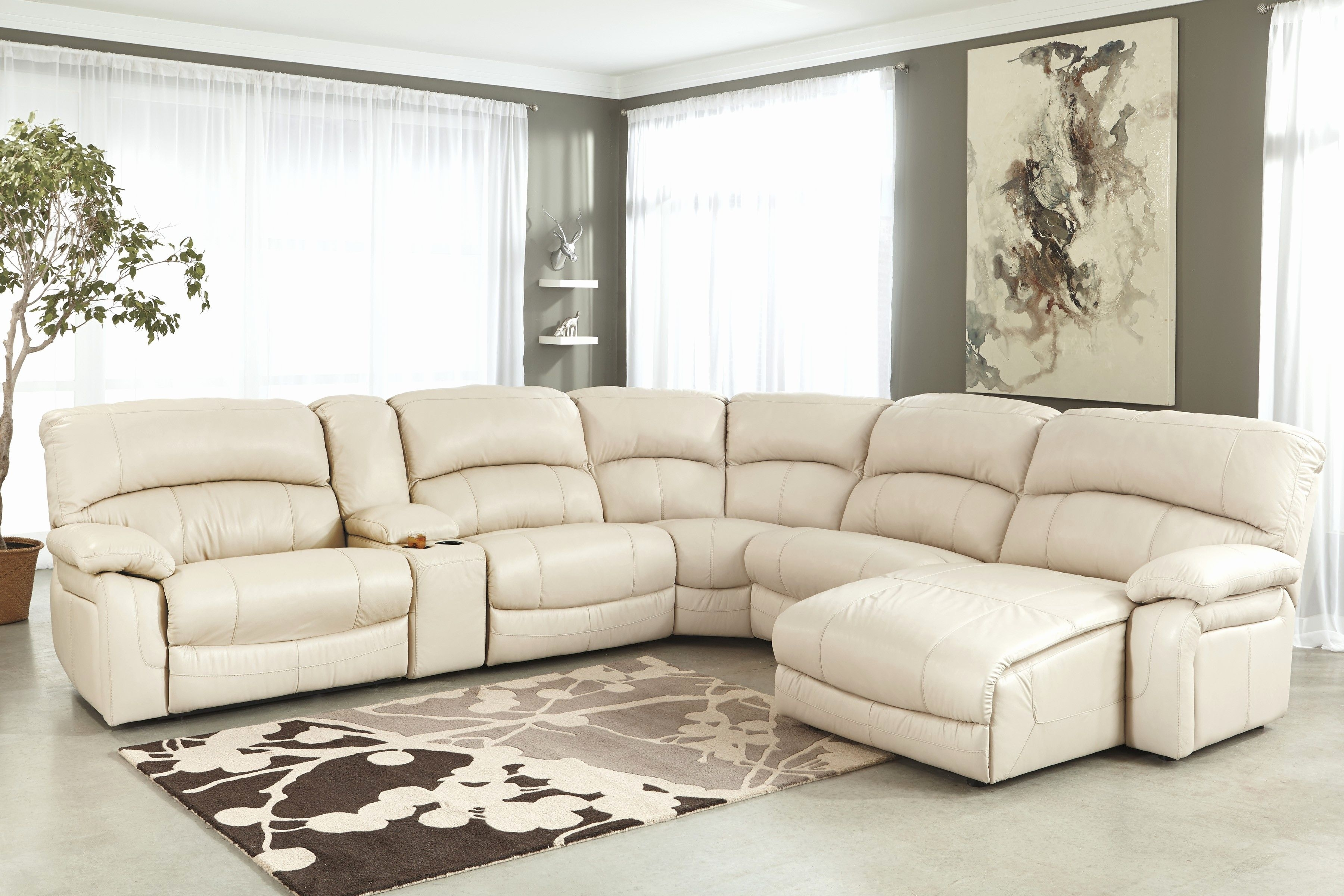 New Cream Sectional Sofa Pics Cream Leather Sectional Sofa With with regard to Marcus Grey 6 Piece Sectionals With  Power Headrest & Usb (Image 22 of 30)