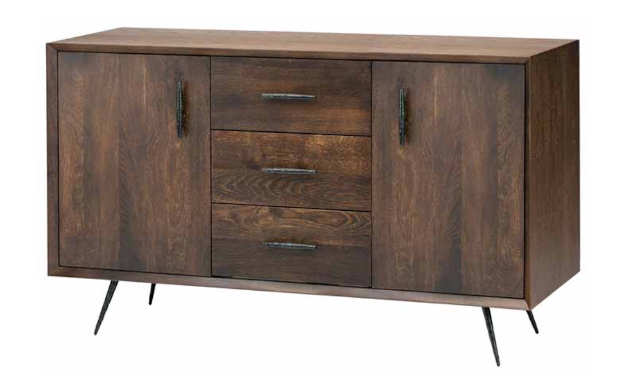 Nexa Sideboard Cabinet In Seared Oak And Black Cast Iron Legs Throughout Black Oak Wood And Wrought Iron Sideboards (Photo 1 of 30)